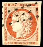 """N°5d, 40 C. Orange, Variéré """"4 Retouché"""", Oblitéré Rouleau De Gros Points, Touch& - 1849-1850 Ceres"""