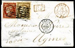 N°5b, 40 C. Orange Foncé Et N°1b, 10 C. Bistre Verdâtre, Oblitérés Grille Sans Fin Su - 1849-1850 Ceres