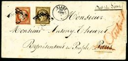 N°5, 40 C. Orange Et N°1a, 10 C. Bistre-brun, Oblitérés Grille Sur LAC Avec Càd Type 15 De - 1849-1850 Ceres