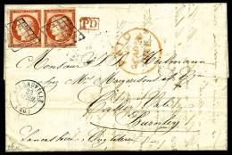N°5, 40 C. Orange, Paire Horizontale, Un Timbre Avec Filet Effleuré, Oblitérée Grille Sur LAC A - 1849-1850 Ceres