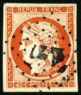 N°5, 40 C. Orange, Oblitéré PC, Léger Point Clair, Sinon TB - 1849-1850 Ceres