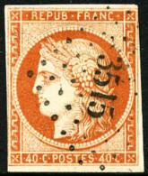 N°5, 40 C. Orange, Oblitéré PC 3515, Une Marge Au Filet Sinon TB - 1849-1850 Ceres