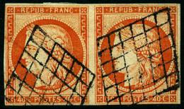 N°5, 40 C. Orange, Paire Horizontale, Oblitérée Grille, TB - 1849-1850 Ceres