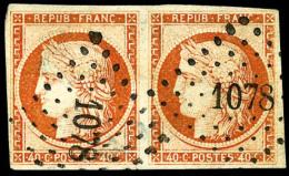 N°5, 40 C. Orange, Paire Horizontale, Oblitérée PC 1078, TB - 1849-1850 Ceres