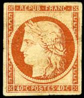 N°5, 40 C. Orange, Pli Et Aminci, Belle Présentation (cote Sans Gomme) - 1849-1850 Ceres