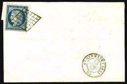 N°4, 25 C. Bleu, Oblitéré Grille Sur LSC Avec Càd Type 15 De St Germain Laval (84) Du 13 Juille - 1849-1850 Ceres