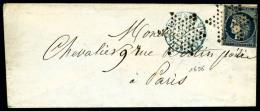 N°4, 25 C. Bleu (touché), Oblitéré Etoile Sur Enveloppe Avec Càd Bleu (taxe 15 C.) Du 10 - 1849-1850 Ceres