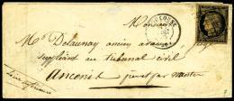 N°3i (Cérès), 20 C. Noir Sur Fauve, Oblitéré Grille Sur Enveloppe Avec Càd Type 1 - 1849-1850 Ceres