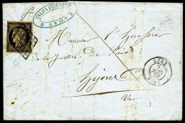 N°3i (Cérès), 20 C. Noir Sur Fauve, Oblitéré Grille Sur LAC De Lyon Du 7 Juin 1850, TB ( - 1849-1850 Ceres
