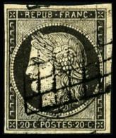 N°3i, 20 C. Gris-souris, Oblitéré Grille, Aminci Sinon TB - 1849-1850 Ceres