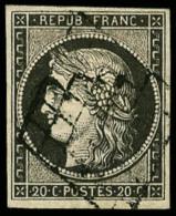 N°3i (Maury), 20 C. Gris, Oblitéré Grille, TB (cote Maury) - 1849-1850 Ceres