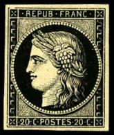 N°3h (Maury), 20 C. Noir Intense Sur Teinté, Forte Trace De Charnière Sinon TB (cote Maury) - 1849-1850 Ceres