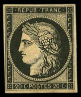N°3f, 20 C. Noir Sur Jaune, Réimpression De 1862, TB - 1849-1850 Ceres