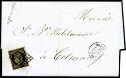 N°3c (Cérès), 20 C. Noir Sur Chamois, Oblitéré Grille Sur LAC Avec Càd Type 15 De - 1849-1850 Ceres