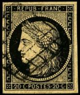 N°3c (Maury), 20 C. Noir Sur Chamois Foncé, Oblitéré Grille, TB (cote Maury) - 1849-1850 Ceres