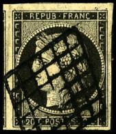 N°3c, 20 C. Gris-noir, Oblitéré Grille, TB - 1849-1850 Ceres