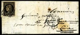 N°3b, 20 C. Noir Sur Chamois, Oblitéré Grille Sur LAC Avec Càd De Paris Du 16 Juin 1850, TB (co - 1849-1850 Ceres