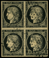 N°3b, 20 C. Noir Sur Chamois, Bloc De 4 Avec Annulation Etoile, TB - 1849-1850 Ceres