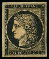 N°3b, 20 C. Noir Sur Chamois, TB - 1849-1850 Ceres