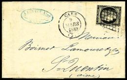 N°3a, 20 C. Noir Sur Blanc, Oblitéré Grille Sur LAC Avec Càd Type 14 De Caen Du 3 Mars 1849, TB - 1849-1850 Ceres