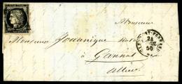 N°3, 20 C. Noir Sur Jaune, Oblitéré Grille Sur LAC Avec Càd Type 15 De Clermont-Ferrand Du 24 A - 1849-1850 Ceres