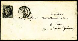 N°3, 20 C. Noir Sur Jaune, Oblitéré Grille Sur Enveloppe Avec Càd Type 15 De Dijon Du 14 Janvie - 1849-1850 Ceres