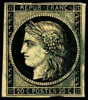N°3, 20 C. Noir Sur Jaune, Oblitéré Càd Type 15 En Bleu, B (cote Cérès) - 1849-1850 Ceres