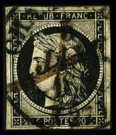 N°3, 20 C. Noir Sur Jaune, Oblitéré Gcàd Type 13 Du 5 Janvier 1849 Et Plume, TB - 1849-1850 Ceres