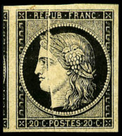 N°3, 20 C. Noir Sur Jaune, Pli Accordéon, Superbe - 1849-1850 Ceres