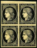 N°3, 20 C. Noir Sur Jaune, Bloc De 4, TB - 1849-1850 Ceres