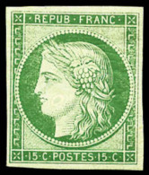 N°2e, 15 C. Vert Vif Clair, Réimpression De 1862, TB - 1849-1850 Ceres