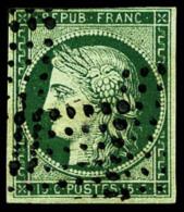 N°2c, 15 C. Vert Très Foncé, Oblitéré Losange De 81 Points, Au Filet En Haut Sinon TB - 1849-1850 Ceres