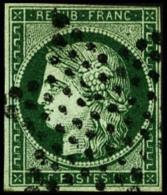 N°2c, 15 C. Vert Très Foncé, Oblitéré Etoile, Un Angle Au Filet Sinon TB - 1849-1850 Ceres