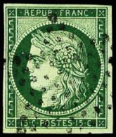 N°2c, 15 C. Vert Très Foncé, Oblitéré Etoile, Superbe - 1849-1850 Ceres
