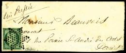 N°2b, 15 C. Vert Foncé, Oblitéré Etoile Sur Devant De Lettre, TB - 1849-1850 Ceres