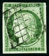 N°2a, 15 C. Vert Clair, Oblitéré Grille, Très Légèrement Touché Dans Un An - 1849-1850 Ceres