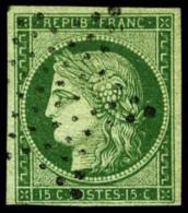 N°2a, 15 C. Vert Clair, Oblitéré Etoile, TB - 1849-1850 Ceres