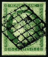 N°2, 15 C. Vert, Oblitéré Grille, TB - 1849-1850 Ceres