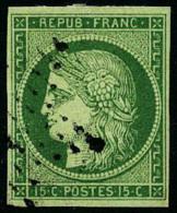 N°2, 15 C. Vert, Oblitéré Etoile, TB - 1849-1850 Ceres