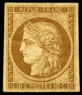 N°1f, 10 C. Bistre Clair, Réimpression De 1862, Forte Charnière Sinon TB - 1849-1850 Ceres