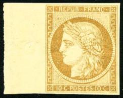 N°1f, 10 C. Bistre Clair, Réimpression De 1862, Bord De Feuille, Superbe - 1849-1850 Ceres
