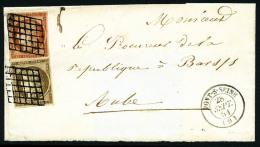 N°1c, 10 C. Bistre-verdâtre Foncé Et N°5, Oblitérés Grille Sur LSC Incomplète - 1849-1850 Ceres