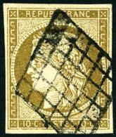 N°1c, 10 C. Bistre Verdâtre Foncé, Oblitéré Grille, TB - 1849-1850 Ceres