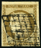 N°1b, 10 C. Bistre-verdâtre, Oblitéré Grille, TB - 1849-1850 Ceres