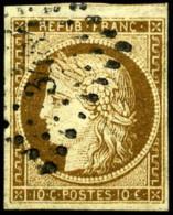 N°1a, 10 C. Bistre-brun, Oblitéré PC, TB - 1849-1850 Ceres