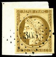 N°1a, 10 C. Bistre-brun, Nuance Exceptionnelle, Oblitéré PC 3308 Sur Petit Fragment, Superbe - 1849-1850 Ceres