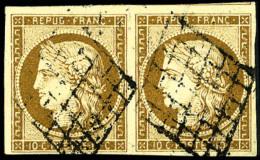 N°1a, 10 C. Bistre-brun, Paire Horizontale Oblitérée Grille, TB - 1849-1850 Ceres