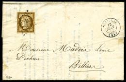 N°1, 10 C. Bistre-jaune, Oblitéré PC Sur LAC Avec Càd Type 15 De Muzillac (54) Du 12 Juin 1854, - 1849-1850 Ceres