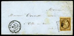 """N°1, 10 C. Bistre-jaune, Oblitéré PC 240 Sur LSC Avec Càd Type 15 De """"BAR-S-AUBE"""" Du 5 Mai 1853 - 1849-1850 Ceres"""