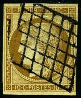 N°1, 10 C. Bistre-jaune, Oblitéré Grille, TB - 1849-1850 Ceres